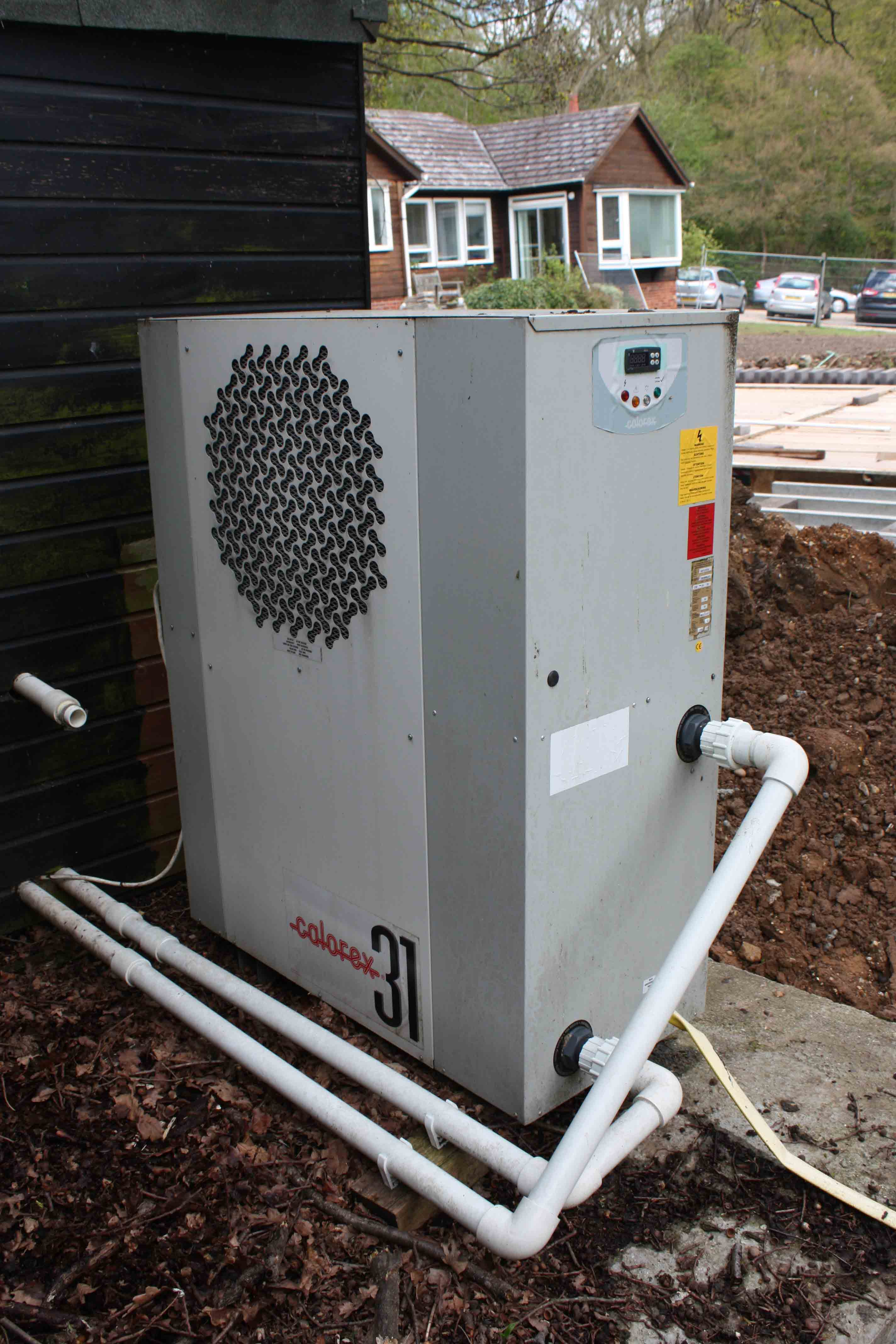 Sold calorex aw1231al swimming pool heat pump used - Heated swimming pool running costs ...