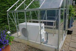 Duratech Dura 17 pool heat pump heater in greenhouse
