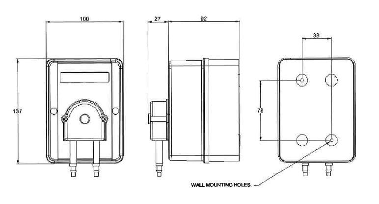 Automatic dosing pump dimensions