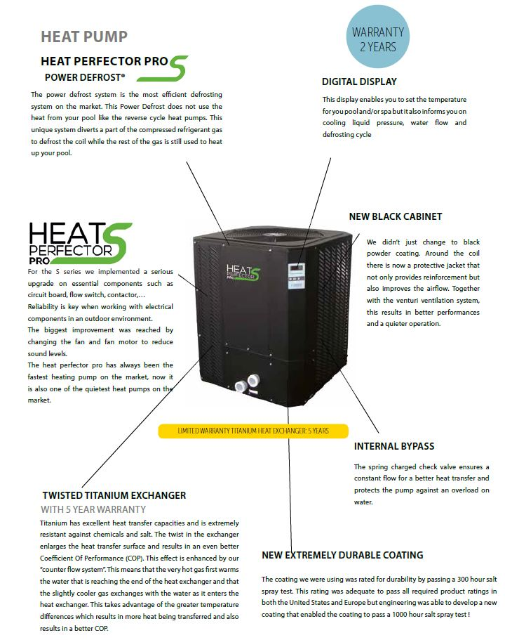 heat perfector pro pool heat pump specs