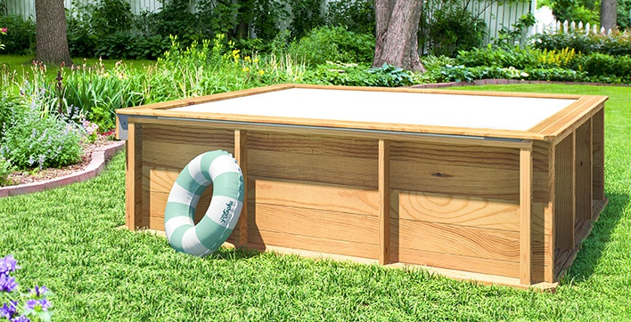 Pistoche 2m x 2m wooden pool with built in safety cover for Abri piscine hors sol